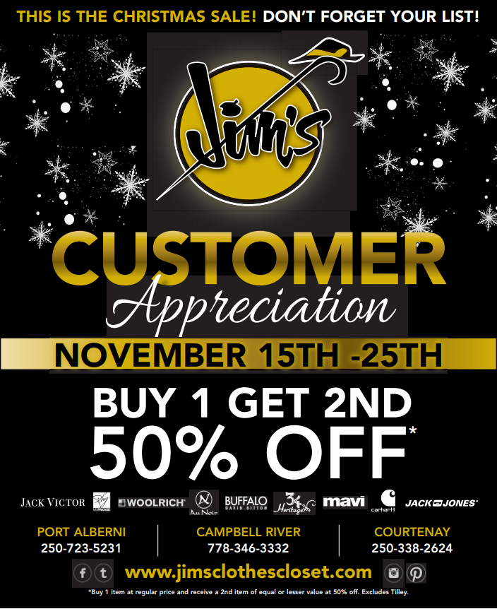 Customer Appreciation Sale – Island Locations